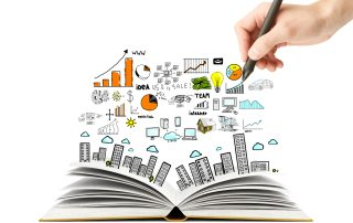 hand drawing business scheme and open book